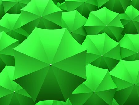 smaller: One big green umbrella on top of many smaller umbrellas