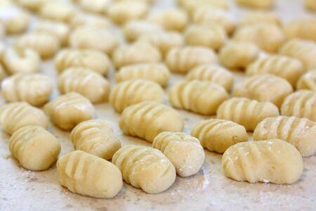 gnocchi: Fresh homemade  potato gnocchi ready for cooking