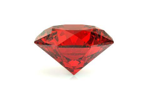 piedras preciosas: Procesamiento de diamante rojo sobre fondo blanco 3D