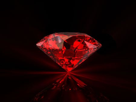 Shiny red diamond on reflective black background Standard-Bild