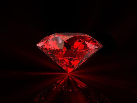 Shiny red diamond on reflective black background photo