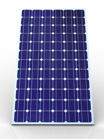Blue solar panel on white background