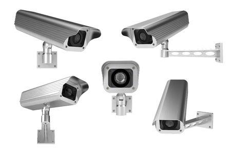 guardia de seguridad: representaci�n 3D de c�maras de vigilancia sobre fondo blanco  Foto de archivo