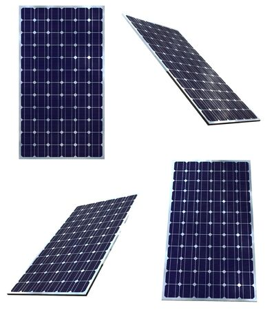 Blue solar panels in different positions  isolated on white background Standard-Bild