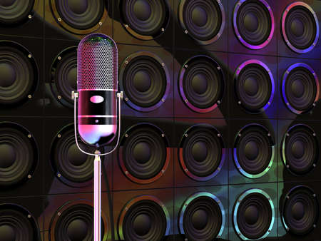 Vintage microphone under colorful disco lights and loudspeakers in background photo
