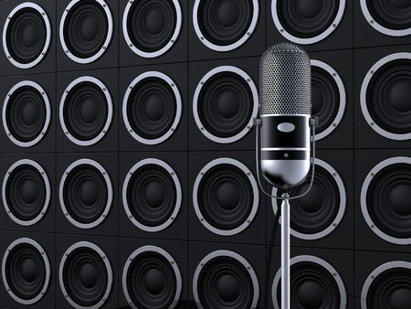 Vintage microphone on stage with loudspeakers in background Stock Photo - 7002530