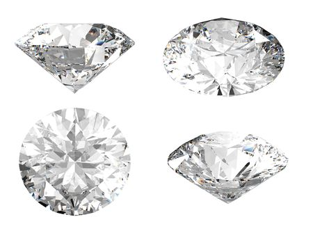 3D rendering of white diamond in different angles on white background