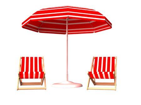 silla playa: Silla de playa roja y paraguas sobre fondo blanco  Foto de archivo