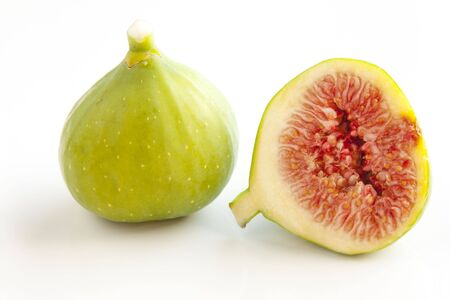 Fresh green  figs on white background photo