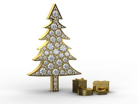 Golden christmas tree with diamonds and gift boxes on white background photo