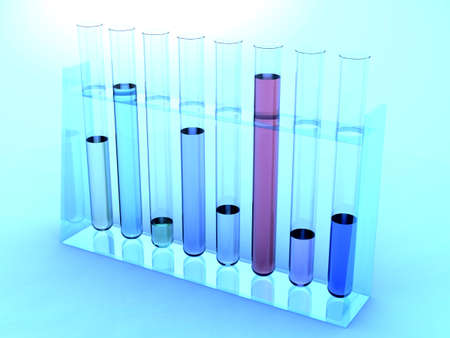 3D rendering of test tubes under blue light photo