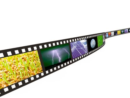 Filmstrip with technology, energy and environment images on white background Stock Photo - 8179971