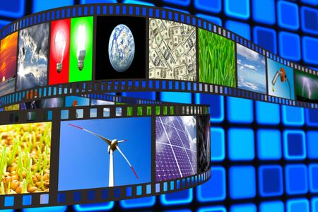 filmroll: Filmstrip with technology, energy and environment images on blue background