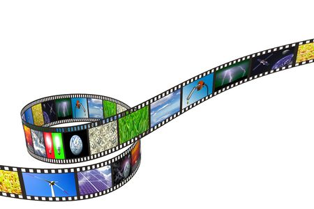 multimedia: Filmstrip with technology, energy and environment images on white background