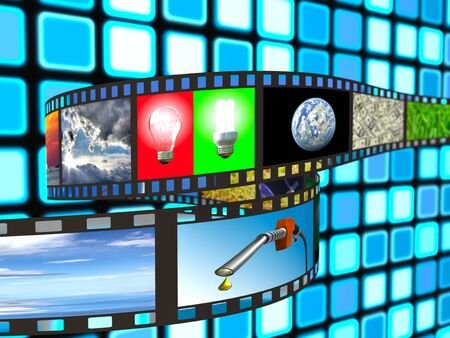 enviroment: Filmstrip with technology and enviroment images on blue background