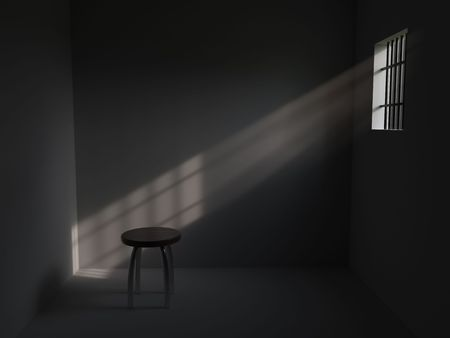 prison: 3D rendering of prison cell with bars on window Stock Photo