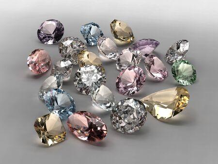 edelstenen: Glanzende diamanten in verschillende vormen en kleuren op grijze achtergrond