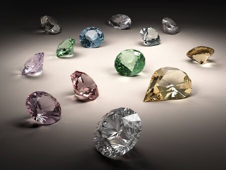 Shiny diamonds in different shapes and colors on dark background Stock Photo