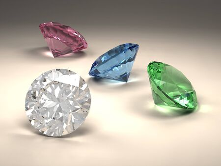 3D rendering shiny diamonds in different colors