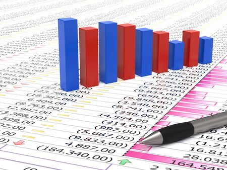Spreadsheet with pen, blue and red graph bars with numbers in background Stock Photo - 8380055