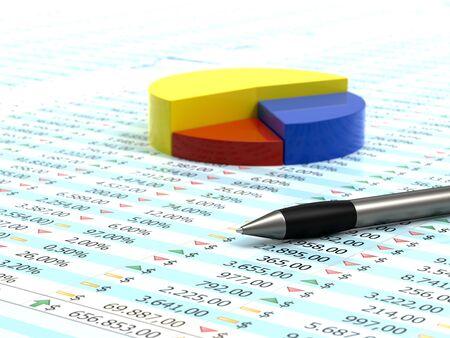 스프레드 시트: Spreadsheet with pen, blue yellow and red pie with numbers in background 스톡 사진