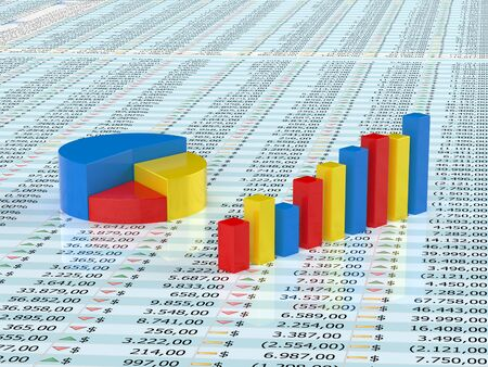 Spreadsheet with blue,yellow  and red graph bars with numbers in background Stock Photo - 8380058