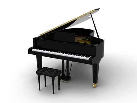 Grand piano on white background photo