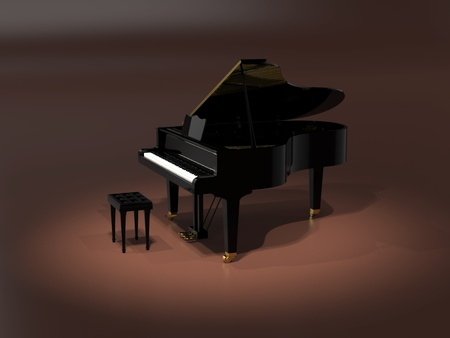 Grand piano on stage under spot light photo