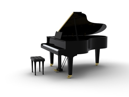 Grand piano on white background Stock Photo - 8487559