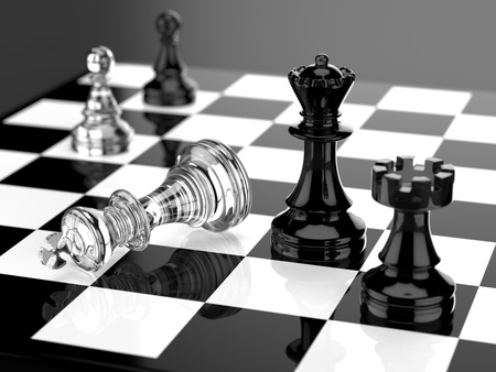 checkmate: Checkmate with black and white board and glass pieces Stock Photo