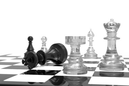 Schachmatt: Checkmate mit schwarzen und wei�en Board und Glas pieces