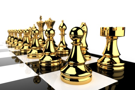 chess rook: Black and white chess board and golden pieces