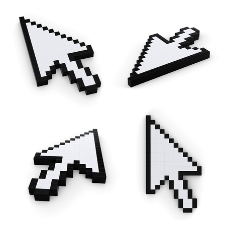 pixelated mouse  pointers on white background Stock Photo - 8569507