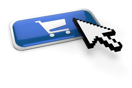 web shop: pixelated mouse  pointer on on shopping cart button Stock Photo
