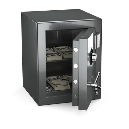caja fuerte: Abri� salvo con dinero y diamantes sobre fondo blanco Foto de archivo