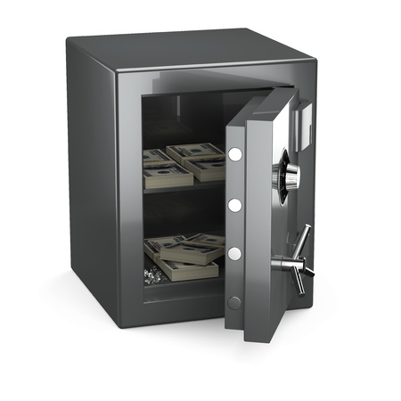 Opened safe with money and diamonds on white background