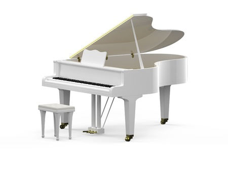 grand piano: 3D rendering of white grand piano