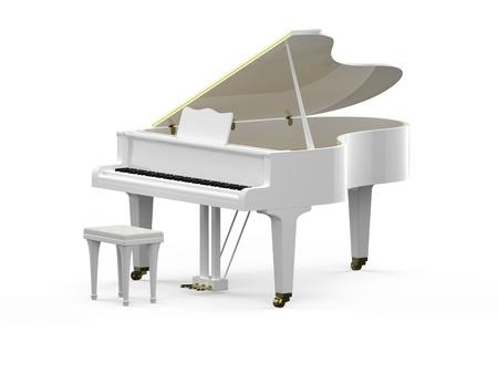 grand piano: 3D Rendering von wei�en Fl�gel Lizenzfreie Bilder