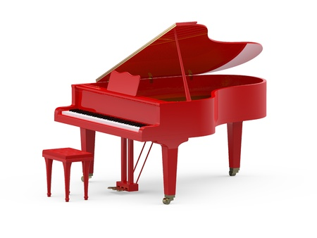 piano: Rode grand piano op witte achtergrond