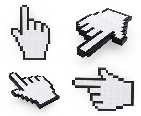 hand pixelated mouse  pointers on white background Stock Photo - 8861929