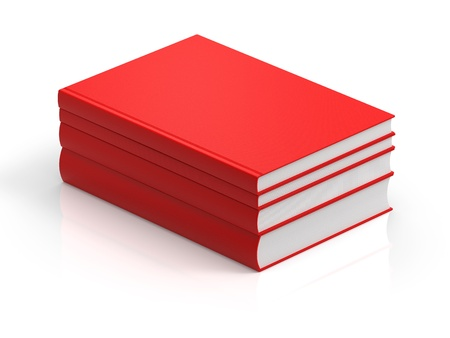 pile books: 3D rendering red books in white background
