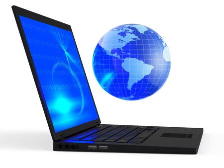 laptop screen: Laptop with illuminated globe isolated on white background Stock Photo