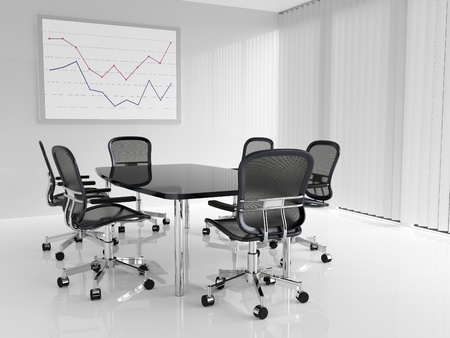 Conference table with six chairs in conference room