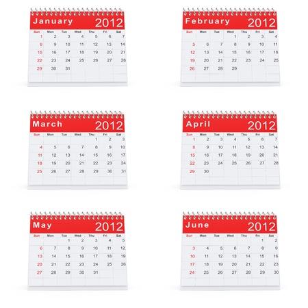 3D rendering of 2012 desk calendar january to june photo