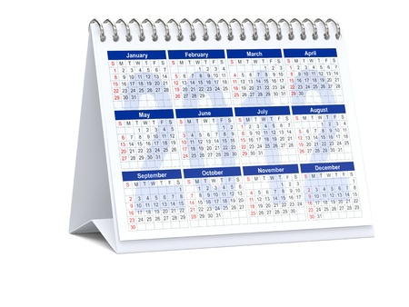 3D rendering of 2012 desk calendar on white background