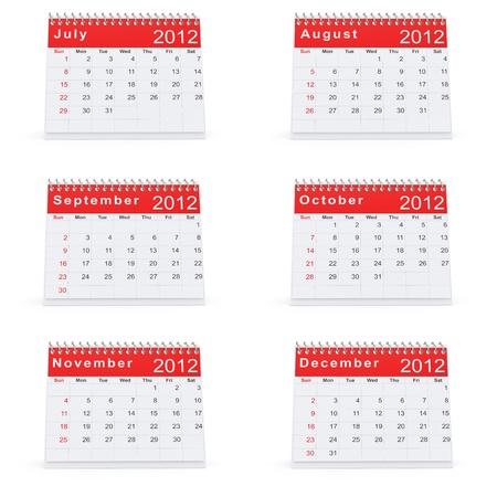 3D rendering of 2012 desk calendar july to december Stock Photo - 10860628