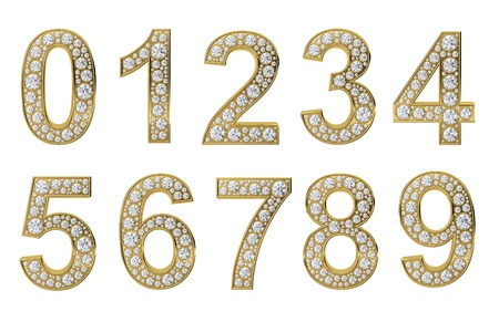seven: Golden numbers with white diamonds isolated on white background