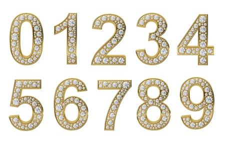 numero nueve: N�meros de oro con diamantes blancos sobre fondo blanco