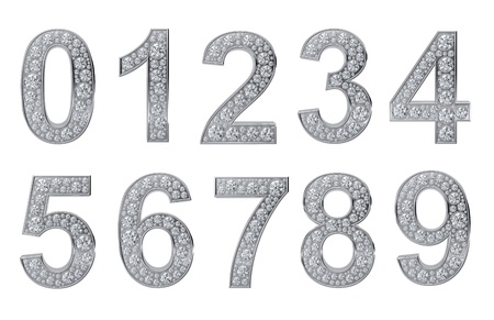 four in one: Silver numbers with white diamonds isolated on white background
