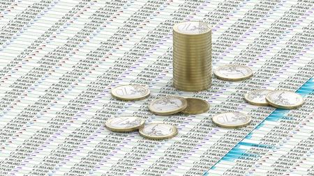 One Euro coins on spreadsheet photo